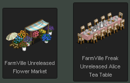 FarmVille Flower Market and Alice Table