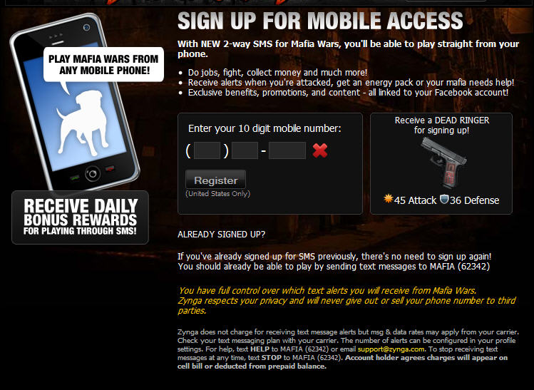 mafia wars mobile sign-up how to