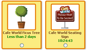 Cafe World Ficus and Seating Sign