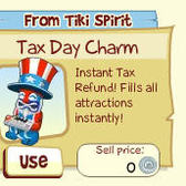 Tiki Farm gives everyone a refund with the Tax Day Charm