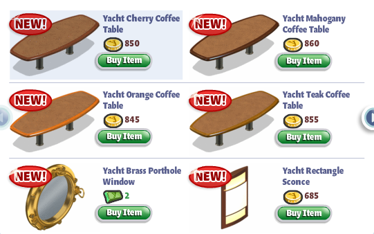 YoVille Yacht Furniture: Coffee tables, Porthole, and Sconce