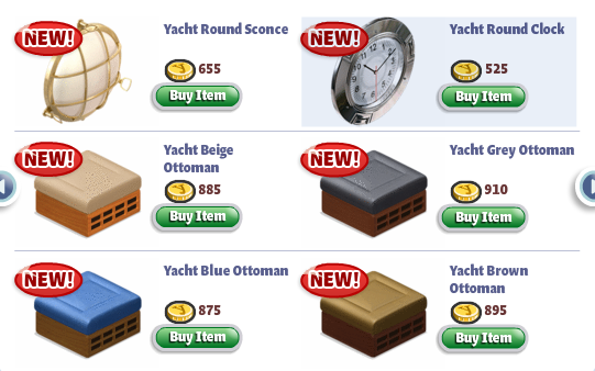 YoVille Yacht Furniture: Clock and Ottomans