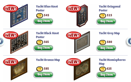 YoVille Yacht Furniture: Posters and Maps