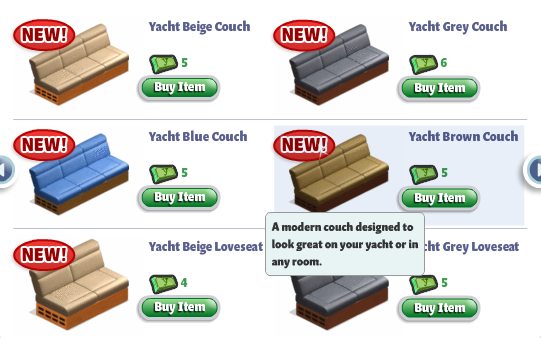 YoVille Yacht Furniture: Couch and Loveseat