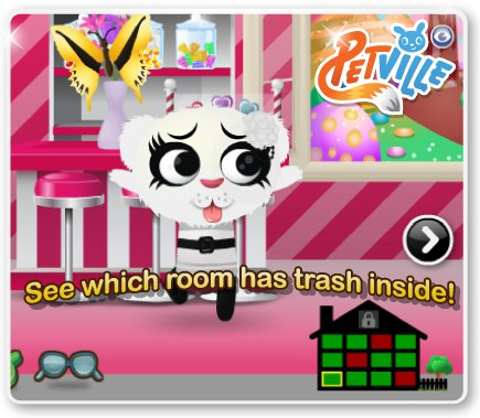 PetVille new indicator tells you when a room has trash in it