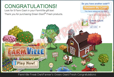 FarmVille Freak DarkFarmer's Green Giant Fresh Congratulations