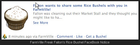FarmVille Freak Fallon's Rice Bushel FaceBook Notice