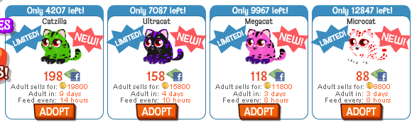 Happy Pets Catzilla, Ultracat, Megacat, and Microcat in store