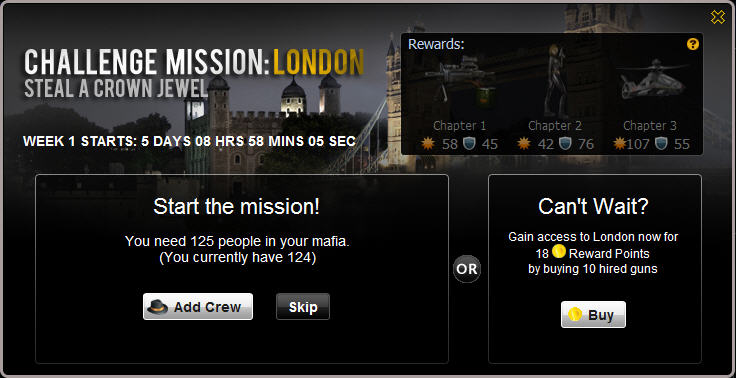 mafia wars challenge mission london