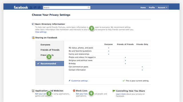 facebook's new privacy settings