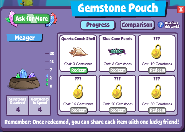 fishville gemstone pouch collection game