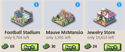 Social City Football Stadium, Mauve McMansion, and Jewelry Store