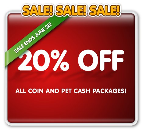 PetVille coin and Pet Cash sale