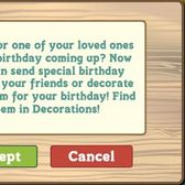 FarmVille allows players to wish friends a Happy Birthday