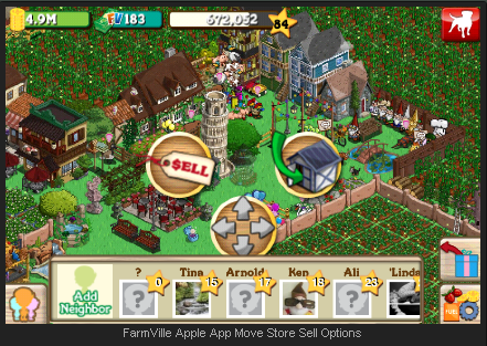 FarmVille Apple App Move Store Sell Options