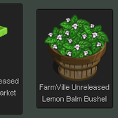 FarmVille Unreleased Lemon Balm Market Stall & Lemon Balm Bushel