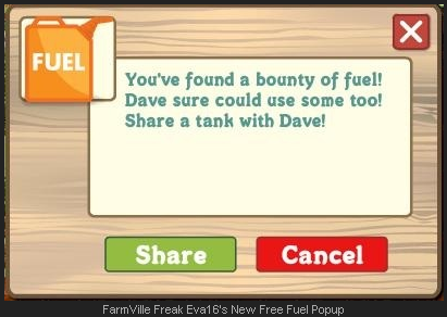 FarmVille free fuel pop-up window to share
