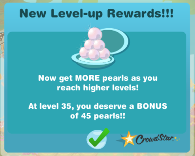 Happy Aquarium rewards level up with more pearls