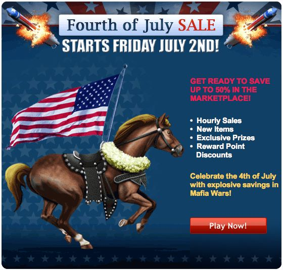 fourth of july. mafia wars fourth of july sale