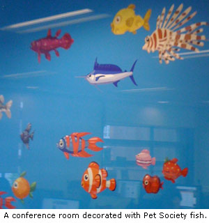 Pet Society fish decorates Playfish London office conference room