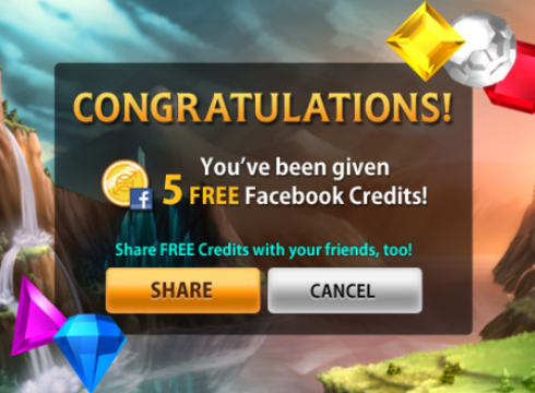 Bejewled Blitz gives away 5 free Facebook Credits