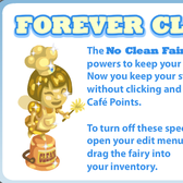 Cafe World: No Clean Fairy keeps stoves clean without clicking