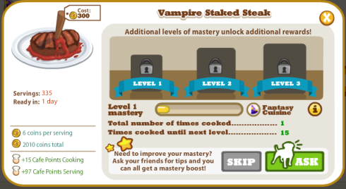 Cafe World Vampire Staked Steak