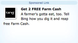 farmville bing free farm cash