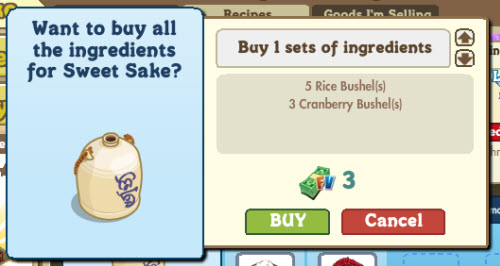 FarmVille Buy All Crafting Ingredients for Sweet Sake