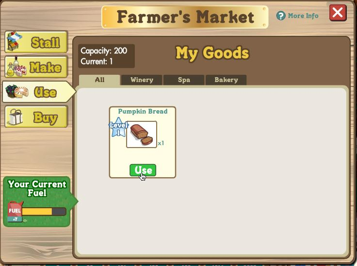 farmville bakery use items and trade them in for fuel