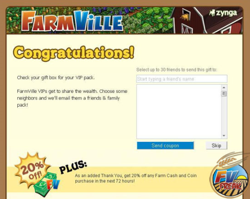 FarmVille Bonus Pack VIP Email Congratulations notice