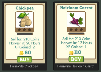 FarmVille Chickpea and Heirloom Carrot crop