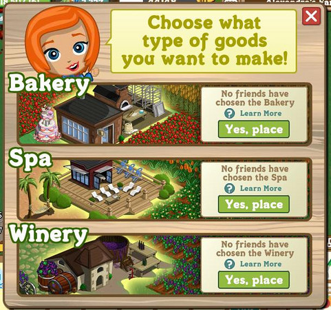 FarmVille Choose Bakery, Spa, or Winery