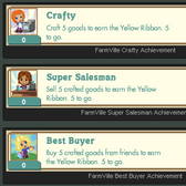 FarmVille Crafting Building Achievements: Cunning Crafter, Super Seller & Best Buyer