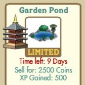 FarmVille Japanese Decorations: Garden Pond, Large Lamp, Cherrywood Gate, & Lilac Tree