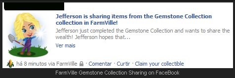 FarmVille Gemstone Collection Sharing on FaceBook
