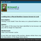 Zynga on FarmVille Bee Hive Glitch solution: Clear the Cache