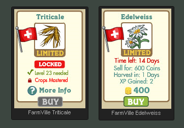 FarmVille Swiss Alps crops, Triticale  and Edelweiss,