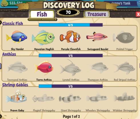FishVille Discovery Log Fish