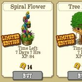Frontierville's limited edition garden items: Spiral Flower and Tree House