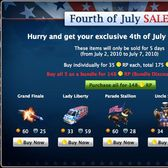 Mafia Wars Fourth of July Sale includes five limited edition items