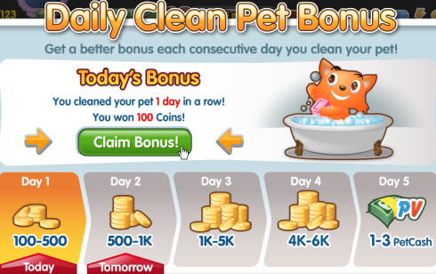 PetVille Daily Clean Pet Bonus