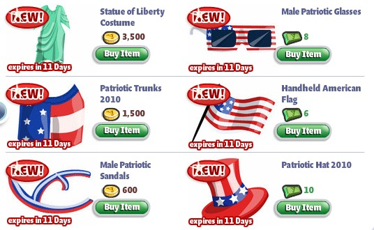 yoville fourth of july cothes