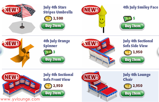 YoVille July 4th items 01