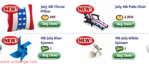 YoVille July 4th items