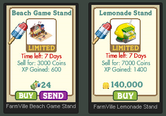 FarmVille Beach Game Stand and Lemonade Stand