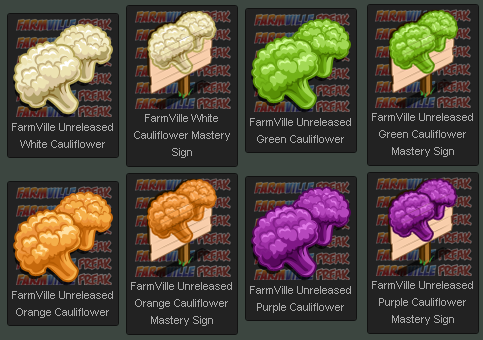 FarmVille Cauliflowers and Mastery Signs