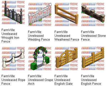 FarmVille Unreleased Barbed Wire Fence, Climbing Ivy Wall, English Fence, English Gate, Grape Arch, Rope Fence, Stone Fence, Weathered Fence, Wedding Fence & Wrought Iron Fence