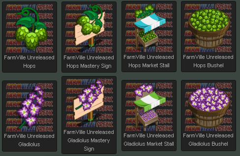 FarmVille Unreleased Hops Crop and Gladiolus Crop