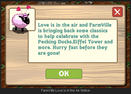 FarmVille Love is in the Air Notice